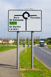 Traffic sign for Bury St Edmunds and Thurston and Great Barton Stock Photo