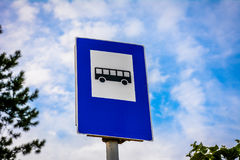 Traffic sign for bus station. With sky background Stock Photos