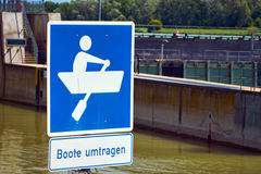 Traffic sign at a canal lock Stock Photos