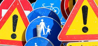 Traffic sign_children on the road Royalty Free Stock Image