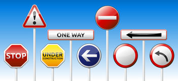 Traffic sign collection. Vector warning, prohibition collection with reflection Stock Photo