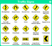 Traffic sign collection, warning road signs Stock Photos