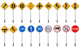 Traffic sign collections Royalty Free Stock Photo