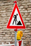 Traffic sign at a construction site Stock Image