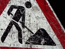 Traffic sign construction site. Detail of a road sign warns of the dangers of a construction site Royalty Free Stock Photography