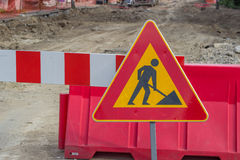 Traffic sign for construction works in street Royalty Free Stock Photography