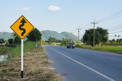 Traffic sign on country road Stock Photo