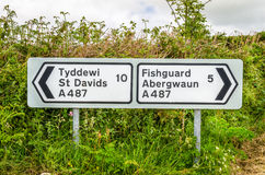 Traffic Sign on a Country Road in Wales royalty free stock photos