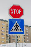 Traffic sign covered by ice and snow 2. Traffic sign covered by ice and snow, icy weather Stock Photos