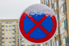 Traffic sign covered by ice and snow 4. Traffic sign covered by ice and snow, icy weather Royalty Free Stock Images