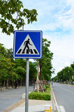 Traffic sign - crossing walk sign in the city Stock Images