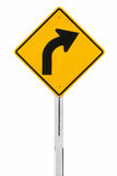 Traffic sign curved warning Royalty Free Stock Photo