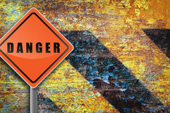 Traffic sign danger. Royalty Free Stock Photos
