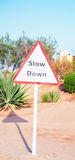 Traffic Sign in the Desert Royalty Free Stock Photos