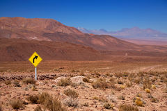 Traffic sign in the desert Atacama Royalty Free Stock Image