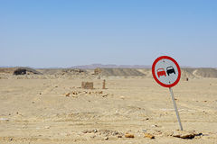 Traffic sign in desert Royalty Free Stock Images