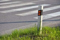Traffic sign determinate the edge of road. Traffic sign (delineator) determinate the edge of road Royalty Free Stock Photos