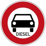 Diesel driving prohibited. Traffic sign diesel driving prohibited, isolated on white Stock Image