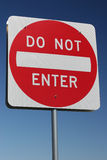Traffic Sign - Do not enter. Against blue sky Stock Photography