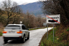 Traffic sign Dragash, a small town in southern Kosovo. Stock Photos