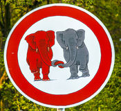 Traffic sign elefants in Love Royalty Free Stock Images