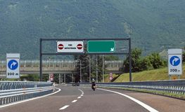 Traffic sign at end of motorway  and the text Fine Autostrada th Royalty Free Stock Image