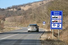 Traffic sign at the entrance to the Republic of Kosovo from Serbia Stock Photo