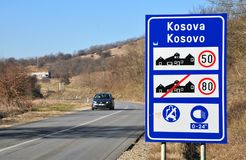 Traffic sign at the entrance to the Republic of Kosovo Stock Image