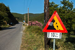 Traffic sign for escarpment next ten kilometers at coastal road in Sithonia Royalty Free Stock Photography
