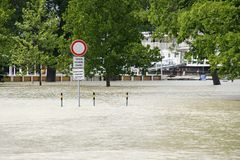Traffic sign - extraordinary flood, on Danube river in Bratislava Royalty Free Stock Photography