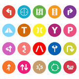 Traffic sign flat icons on white background Royalty Free Stock Photo