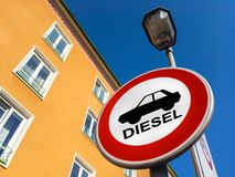 The traffic sign forbidding to use diesel cars. In some European Union cities because sof NOx emissions against sorela house royalty free stock photo