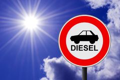 The traffic sign forbidding to use diesel cars. In some European Union cities because sof NOx emissions against sunny sky Royalty Free Stock Images