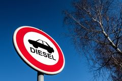 The traffic sign forbidding to use diesel cars. In some European Union cities because sof NOx emissions royalty free stock image