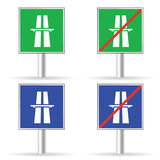 Traffic sign freeway color vector. On a white Royalty Free Stock Photography
