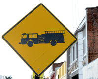 Traffic sign `Give way` to exit the vehicle from the depot fire. Stock Photography
