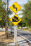 Traffic sign. Hill traffic sign on road Royalty Free Stock Photography