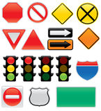 Traffic Sign Icons. A collection of vector traffic signs and map symbols. Stop, yield, traffic lights, interstate and highway signs, one way, detour royalty free illustration