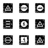 Traffic sign icons set, grunge style Royalty Free Stock Photography