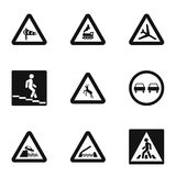 Traffic sign icons set, simple style Royalty Free Stock Image