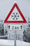 Traffic sign for icy road Royalty Free Stock Image