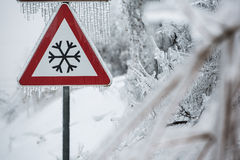 Traffic sign for icy road Royalty Free Stock Photo