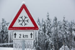 Traffic sign for icy road Stock Photo
