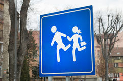 Traffic sign indicating that you are leaving the area of children`s playgrounds. Novi Sad, Serbia Stock Photo