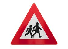 Traffic sign isolated - Children playing or crossing royalty free stock photos
