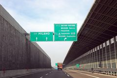 Traffic sign on italian motorway with names of city. Such as Milan Bologna royalty free stock photography