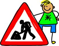 Traffic Sign Kid Stock Image
