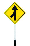 Traffic sign  Lanes Merging Left Royalty Free Stock Photos