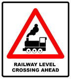 Traffic sign level crossing with barries ahead. Vector illustration. Stock Photography