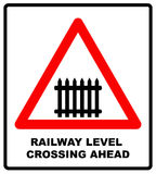 Traffic sign level crossing with barries ahead. Vector illustration. Royalty Free Stock Photography